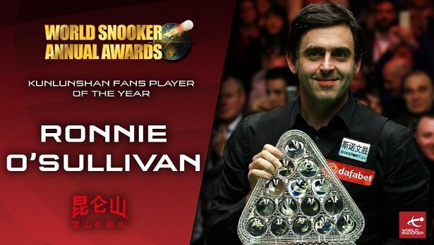 Ронни О'Салливан победил в номинации Kunlunshan Fans Player of the Year