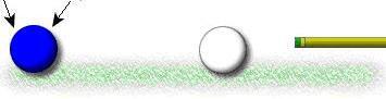 Замах, внимание глаз на прицельном шаре (или конечной точке линии удара)